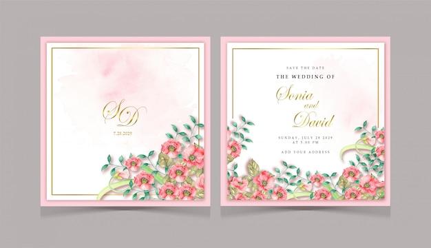 Invitation carte de mariage fleur rouge