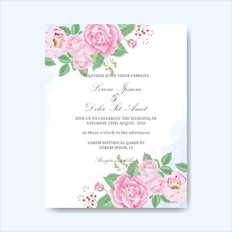 Invitation carte de mariage fleurs dessinées à la main