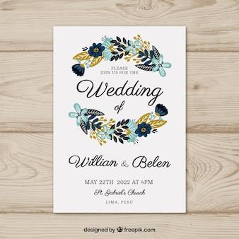 Invitation de carte de mariage avec des fleurs