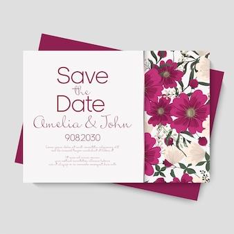 Invitation de carte de mariage floral.