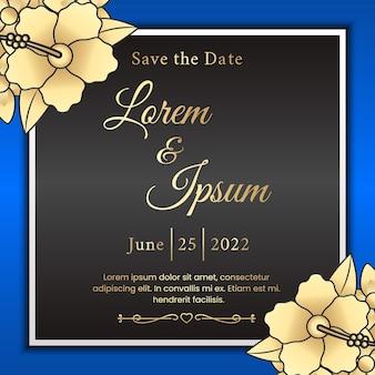 Invitation de carte de mariage de luxe avec ornements floraux
