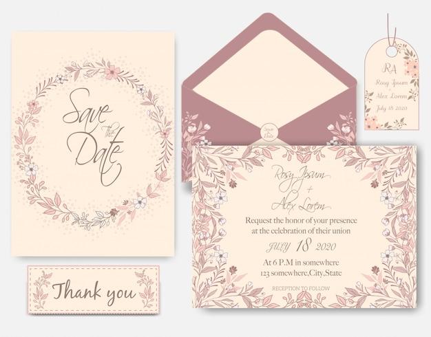 Invitation carte de mariage rose paillettes d'or rose