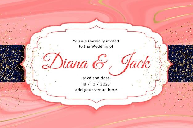 Invitation de carte de mariage royal avec effet de paillettes d'or
