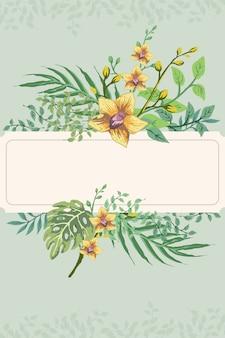 Invitation de carte postale de feuille de fleur rétro dessiner main tropicale