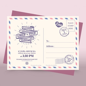 Invitation carte postale de mariage par avion