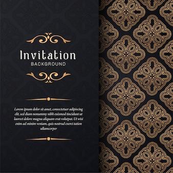 Invitation de carte de voeux avec ornements floraux, fond or ornemental