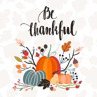 Invitation / carte de voeux de thanksgiving avec lettrage à la main et arrangement saisonnier
