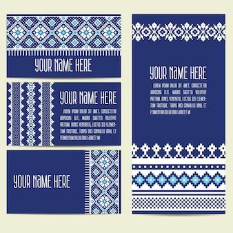 Invitation, cartes avec éléments décoratifs ethniques