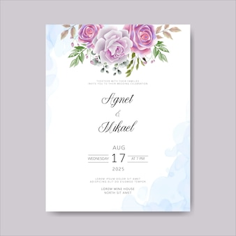 Invitation de cartes de mariage avec beau modèle floral