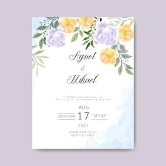 Invitation de cartes de mariage avec de beaux thèmes floraux