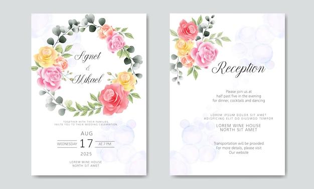 Invitation de cartes de mariage avec belle fleur