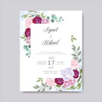Invitation de cartes de mariage avec belle floral