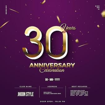 Invitation à la célébration du 30e anniversaire avec numéro 3d en or