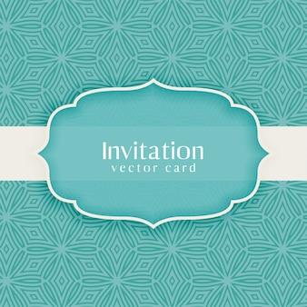 Invitation classique vintage décorative bleue