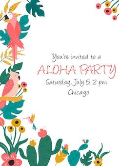 Invitation cocktail avec fleurs, oiseaux et feuilles de palmier.