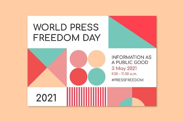 Invitation de communication de conférence sur la liberté de la presse mondiale géométrique