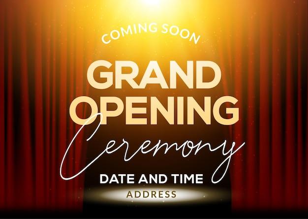 Invitation de concept d'affiche de cérémonie d'inauguration. modèle de fête de décoration d'événement d'inauguration.