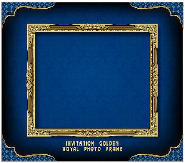 Invitation de conception de vecteur golden photo frame