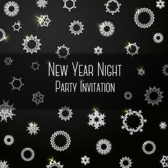 Invitation de couleur classique noire sur la fête du nouvel an avec des flocons de neige