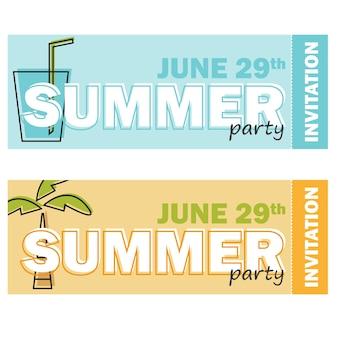 Invitation créative de design plat moderne sur la fête d'été avec symbole de dessin animé en ligne et exemple de texte - ensemble de deux billets colorés