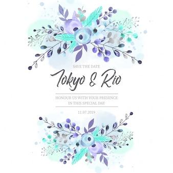 Invitation de mariage avec des fleurs bleues