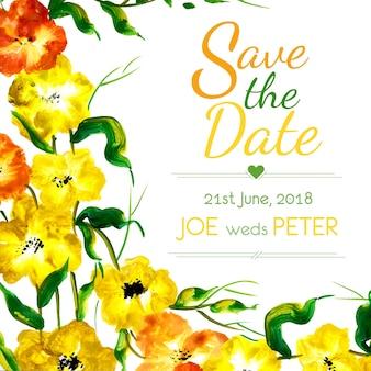 Invitation de mariage floral aquarelle