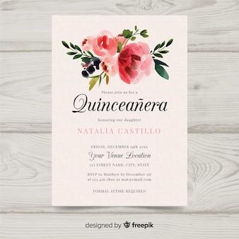 Invitation de quinceañera aquarelle