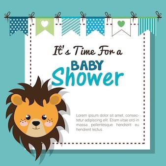 Invitation de douche de bébé avec animal en peluche