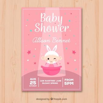 Invitation de douche de bébé avec bébé fille dans un style dessiné à la main