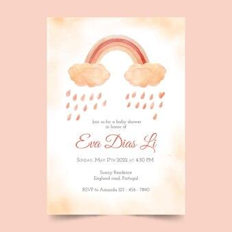 Invitation de douche de bébé chuva de amor aquarelle peinte à la main