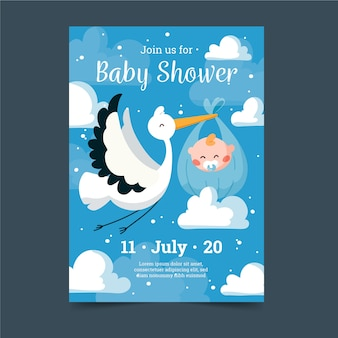 Invitation de douche de bébé colorée