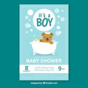 Invitation de douche de bébé dans un style dessiné à la main