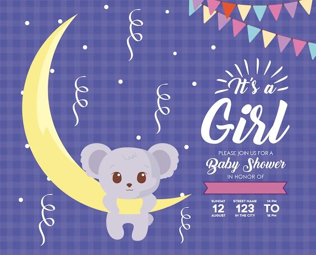 Invitation de douche de bébé avec dessin animé koala