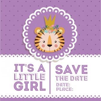 Invitation de douche de bébé avec dessin animé tigre