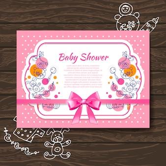 Invitation de douche de bébé douce avec des jouets de bébé doodle