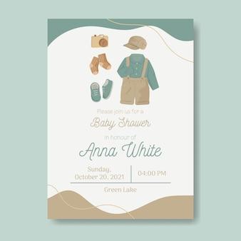 Invitation de douche de bébé avec des éléments de bébé de couleur terre