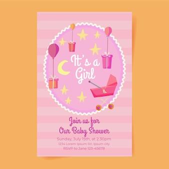 Invitation de douche de bébé fille mignonne