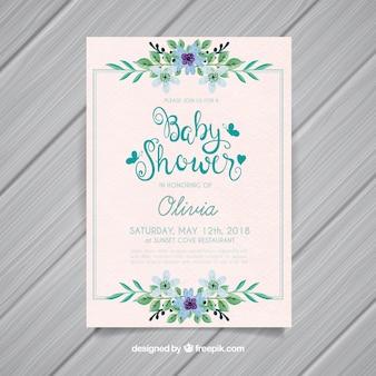 Invitation de douche de bébé avec des fleurs dans un style aquarelle