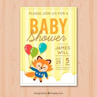 Invitation de douche de bébé avec fox mignon dans un style dessiné à la main