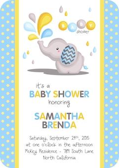 Invitation de douche bébé garçon éléphant