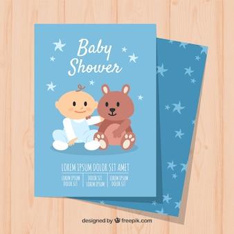 Invitation de douche de bébé avec un garçon mignon