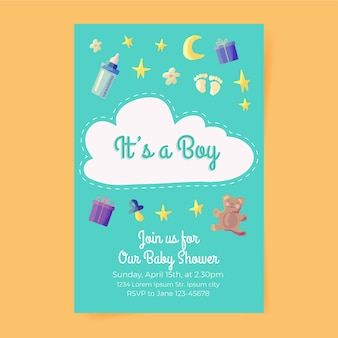 Invitation de douche de bébé garçon mignon