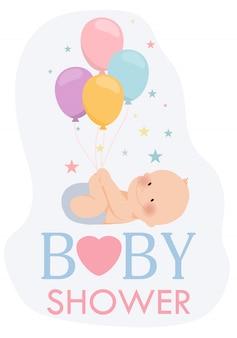 Invitation de douche de bébé mignon