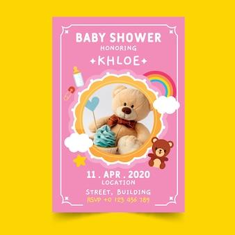 Invitation de douche de bébé avec ours en peluche