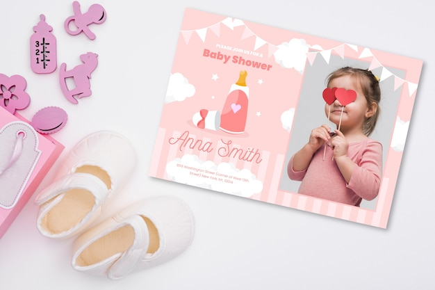 Invitation de douche de bébé avec photo de petite fille