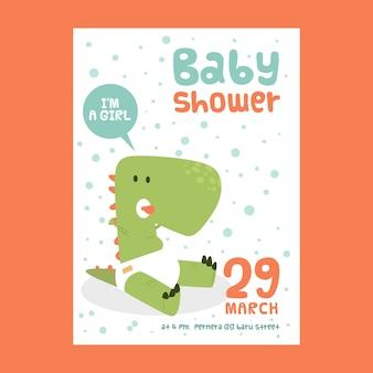 Invitation de douche de bébé pour fille avec dinosaure