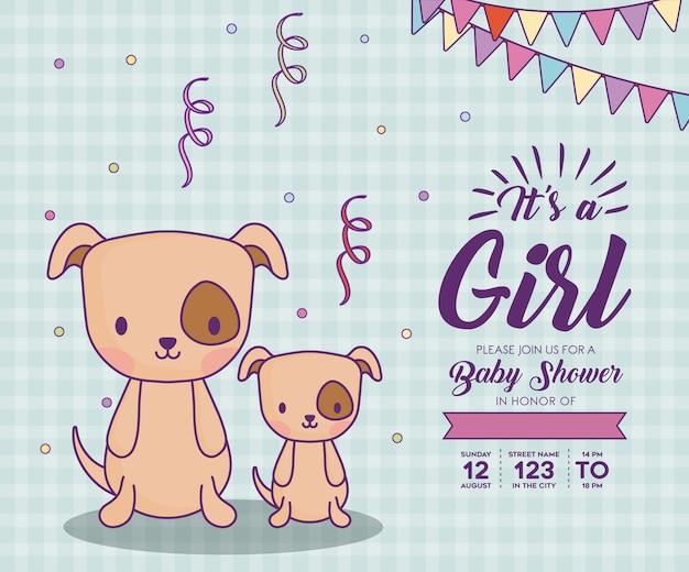 Invitation de douche de bébé avec son concept d'une fille avec des chiens mignons sur fond bleu, design coloré.