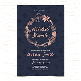 Invitation de douche nuptiale avec couronne florale dessiné à la main d'or rose