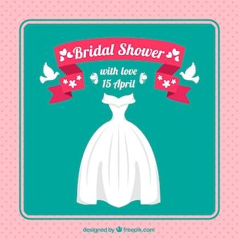 Invitation à la douche nuptiale avec une robe de mariée et des colombes