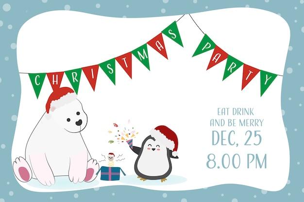 Invitation drôle drôle de fête de noël d'ours et de pingouin
